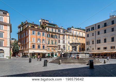 Rome Italy - August 20 2016: Fontana di Santa Maria in Trastevere a sunny summer day in Rome