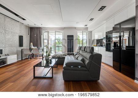 Gray Sofa And Black Table