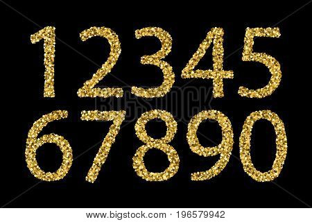 Gold shiny textured numbers isolated on a black background. Vector illustrationeps 10.