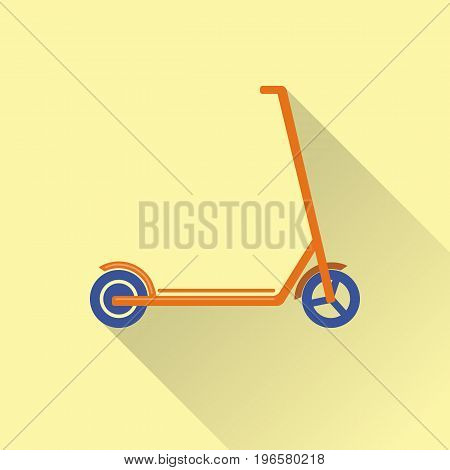 Flat style kick scooter icon with long shadow