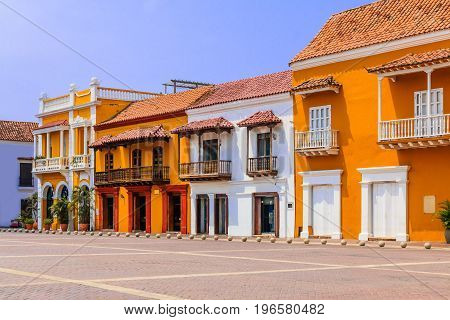 Cartagena Colombia.View of the historic Plaza de la Aduana in the colonial center of Cartagena Colombia poster