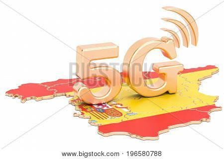 5G in Spain concept 3D rendering isolated on white background