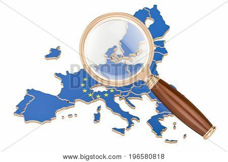 EU under magnifying glass analysis concept 3D rendering isolated on white background