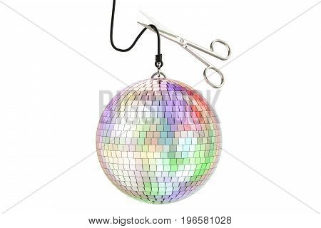 Mirror disco ball with scissors 3D rendering isolated on white background