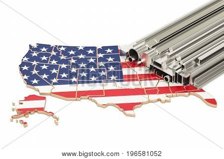 Production and trade of metal products in USA concept. 3D rendering isolated on white background