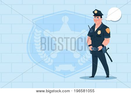 Policeman With Chat Bubble Wearing Uniform Cop Guard Over Brick Background Flat Vector Illustration
