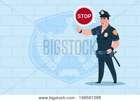 Policeman With Stop Chat Bubble Wearing Uniform Cop Guard Over Brick Background Flat Vector Illustration
