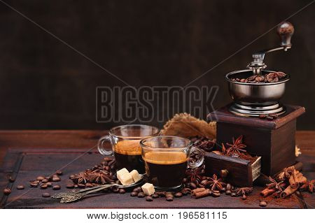 Coffee Beans And Grinder.