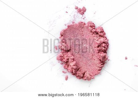 Crushed eye shadow pinkisolated on the white background