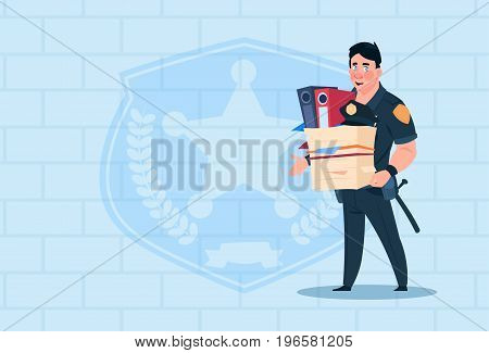 Policeman Fired Hold Box With Working Staff Wearing Uniform Cop Guard Over Brick Background Flat Vector Illustration