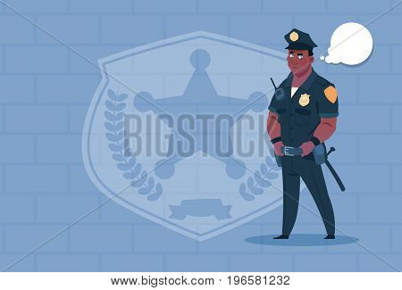 African American Policeman With Chat Bubble Wearing Uniform Cop Guard Over Brick Background Flat Vector Illustration
