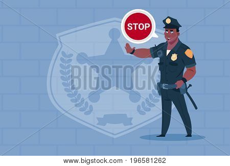 African American Policeman With Stop Chat Bubble Wearing Uniform Cop Guard Over Brick Background Flat Vector Illustration