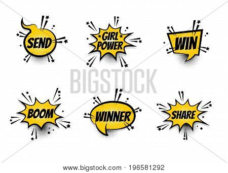 Lettering Girl power, winner, boom, share. Set comics book balloon. Bubble icon speech phrase. Cartoon exclusive font label tag expression. Comic text sound effects. Sounds vector illustration.