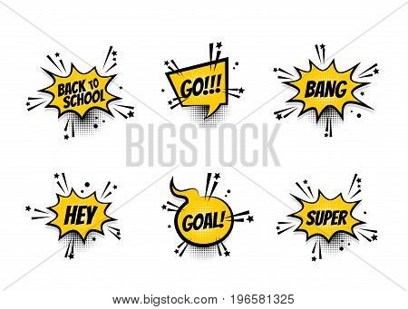 Lettering back school, go, goal, football, super, hey. Set comics book balloon. Bubble speech phrase. Cartoon exclusive font label tag expression. Comic text sound effects. Sounds vector illustration.
