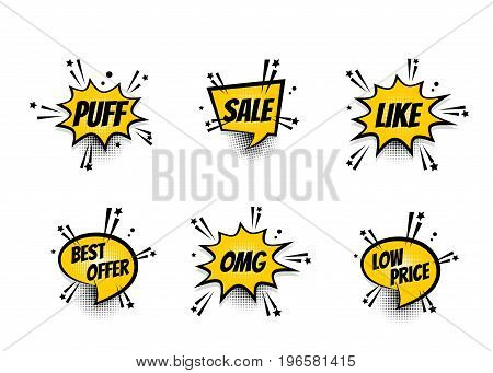 Lettering omg, sale, like, best offer, price. Set comics book balloon. Bubble icon speech phrase. Cartoon exclusive font label tag expression. Comic text sound effects. Sounds vector illustration.