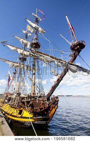 THE TALL SHIPS RACES KOTKA 2017. Kotka, Finland 16.07.2017. Ship Shtandart in the port of Kotka Finland