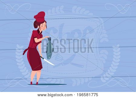 Female Chef Cook Holding Fish Cartoon Chief In Restaurant Uniform Over Wooden Textured Background Flat Vector Illustration