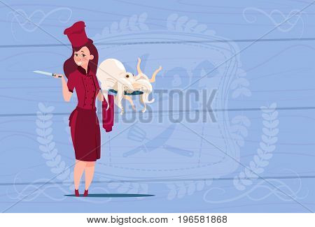 Female Chef Cook Holding Octopus Cartoon Chief In Restaurant Uniform Over Wooden Textured Background Flat Vector Illustration