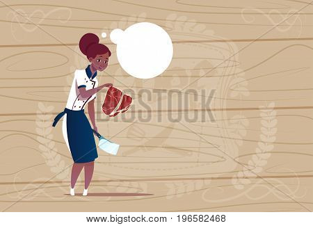 Female African American Chef Cook Holding Meat Cartoon Chief In Restaurant Uniform Over Wooden Textured Background Flat Vector Illustration