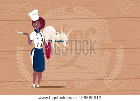 Female African American Chef Cook Holding Octopus Cartoon Chief In Restaurant Uniform Over Wooden Textured Background Flat Vector Illustration