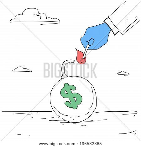Business Man Hand Fire Money Bomb Credit Debt Finance Crisis Concept Vector Illustration