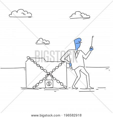 Business Man Holding Key From Database, Corporate Data Protection Concept Vector Illustration