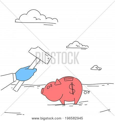Hand Hold Hammer Broking Piggy Bank With Savings Flat Vector Illustration