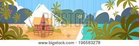 Summer Vacation Bungalow House On Sea Beach Landscape Beautiful Seascape Banner Seaside Holiday Flat Vector Illustration