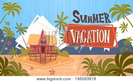 Summer Vacation Bungalow House On Sea Beach Landscape Beautiful Banner Seaside Holiday Flat Vector Illustration