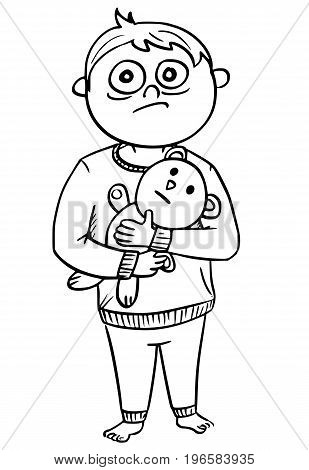Hand drawing cartoon vector illustration of small scared boy in pyjamas or nightclothes holding a teddy bear.