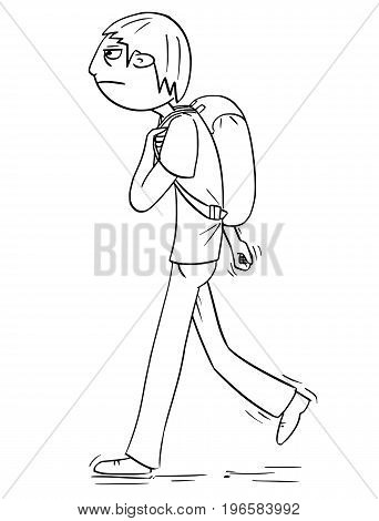 Hand drawing cartoon vector illustration of boy with backpack or schoolbag or satchel walking.