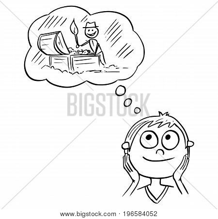 Hand drawing cartoon vector illustration of boy dreaming about live full of adventure and searching for treasures.