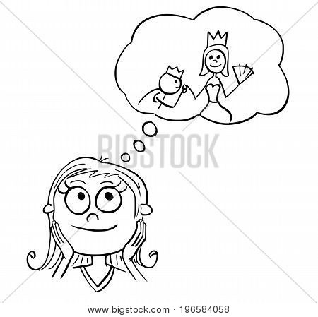 Hand drawing cartoon vector illustration of girl dreaming about live of fairy tale princess.