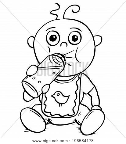 Hand drawing cartoon vector illustration of baby drinking from feeding or nursing or sucking bottle.
