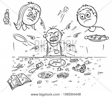 Hand drawing cartoon vector illustration of spoiled spoilt crying baby doing mess around during eating pointing and demanding things all around. Unhappy parents - mother and father are standing behind.