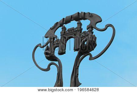 Symbol of Chernivtsi city on Saint Maria square (former Turkish square), Chernivtsi, Ukraine
