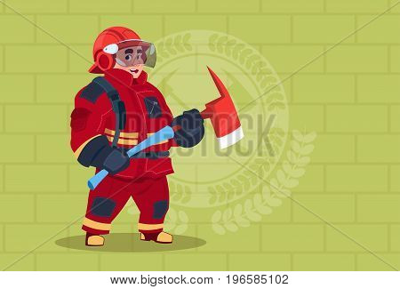 Fireman Holding Hammer Wearing Uniform And Helmet Adult Fire Fighter Stand Over Brick Background Flat Vector Illustration