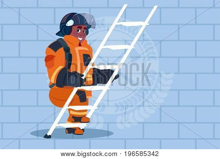 African American Fireman Climb Ladder Up In Uniform And Helmet Adult Fire Fighter Over Brick Background Flat Vector Illustration