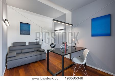 Home Office With Black Table