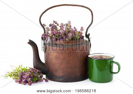 Vintage rustic tea kettle full of thyme flowers enameled mug of healthy herbal tea and bunch of thyme on white background. Herbal medicine.