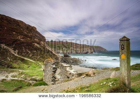 Beautiful Long Exposure of Cornish Coastal Path at Trevallas Coombe UK