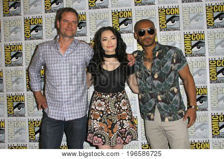 SAN DIEGO - July 20:  Anthony Lemke, Jodelle Ferland, Alex Mallari Jr.  at the Comic-Con Day One at the Comic-Con International on July 20, 2017 in San Diego, CA