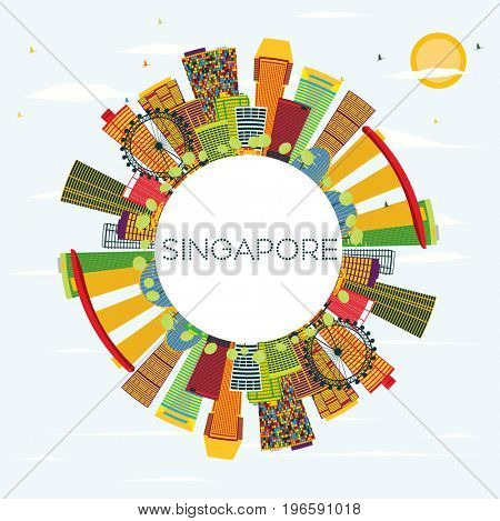 Singapore Skyline with Color Buildings, Blue Sky and Copy Space. Business Travel and Tourism Concept. Image for Presentation Banner Placard and Web Site.