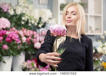 Young woman holding beautiful peony in flower shop