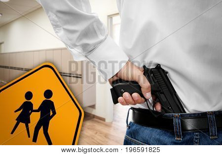 Children crossing sign and man with gun at hall near classroom. School shooting concept