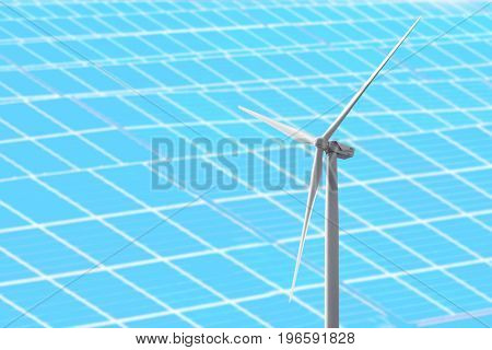 Wind turbine and solar panels on background. Concept of eco friendly thechnologies