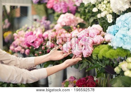 Hands of young woman touching beautiful peonies in flower shop