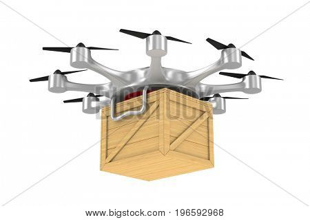 octocopter with wooden box on white background. Isolated 3d illustration