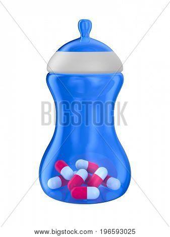Baby bottle on white background. Isolated 3D image