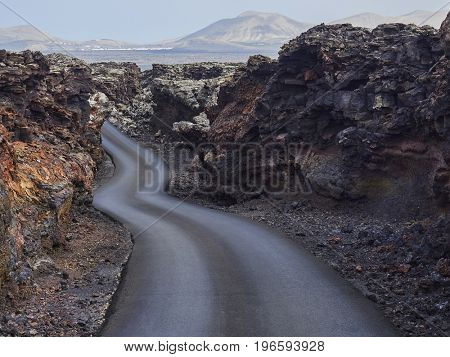 colorful volcanic craters in Timanfaya National Park, Lanzarote, Canary islands, Spain